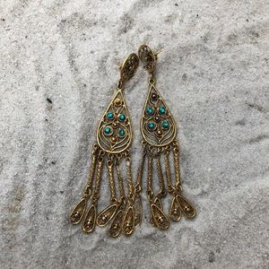 Jewelry - Gold and blue dangling earrings